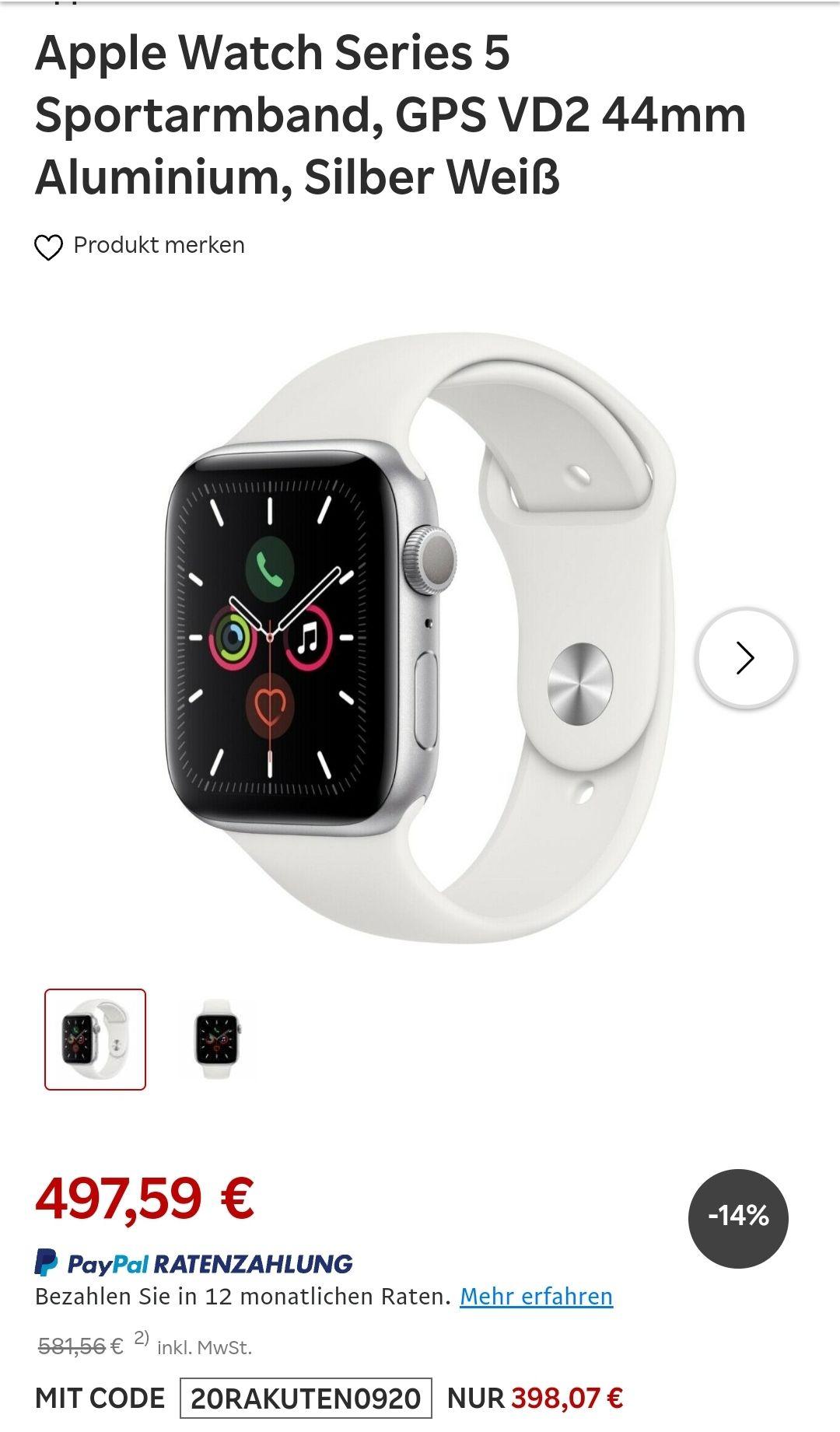 Apple Watch Series 5 Sportarmband, GPS VD2 44mm Aluminium, Silber Weiß