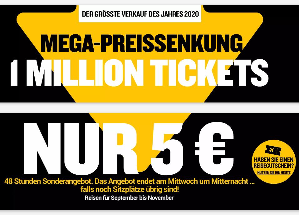 Ryanair Sale: Eine Millionen Tickets ab 5€ Oneway / 10€ Return (Sept-Okt)