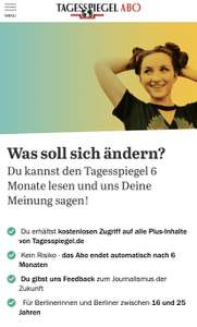 Tagesspiegel Plus (online) 6 Monate gratis