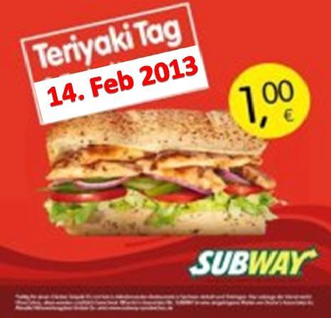 HeuteTeriyaki Tag!  Subway für 1€ statt 4,29€ @ Thüringen und Sachsen-Anhalt