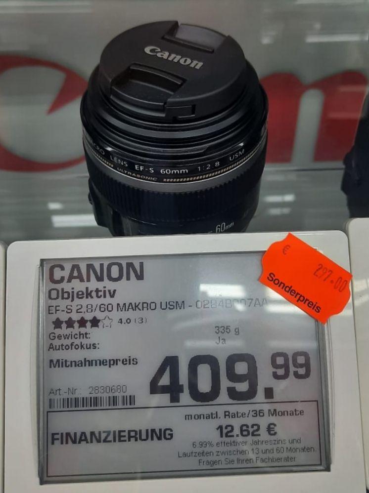 [lokal: Mall of Berlin] Objektiv Canon EF-S 60mm f2.8 Makro USM