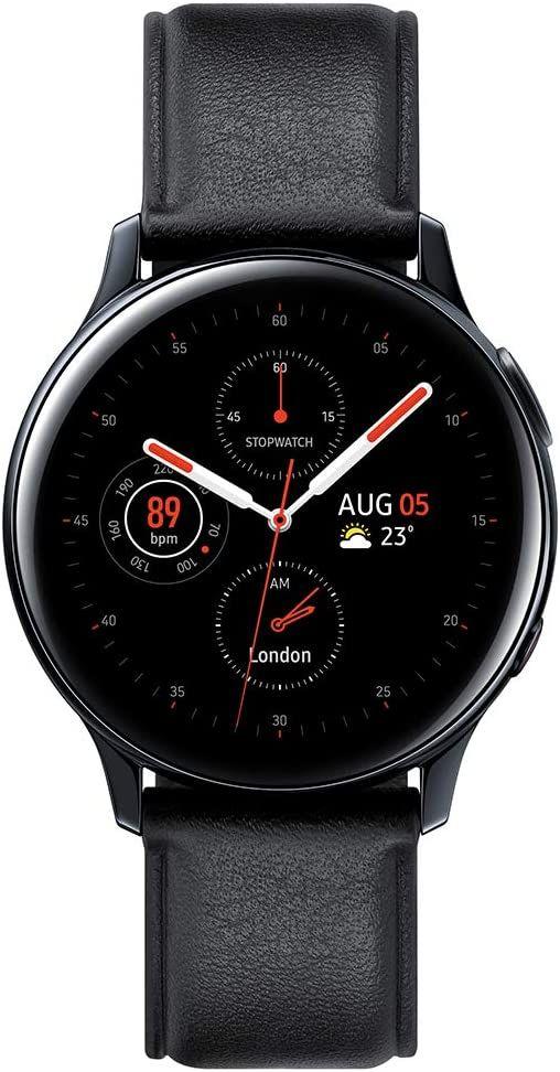 Samsung Galaxy Watch Active 2LTE 44mm (Edelstahl, AMOLED Display, GPS, Pulsmessung, wasserdicht, Lederarmband) schwarz