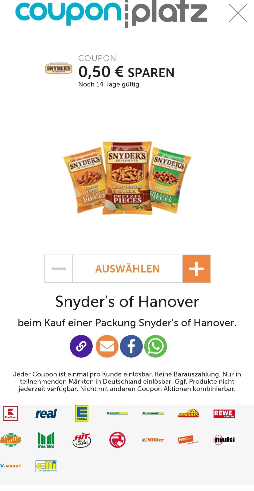 [Couponplatz.de] 0,50€ Rabatt beim Kauf von einer Packung Snyder's of Hanover