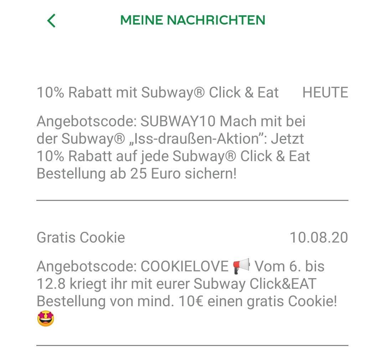 Subway Click and Eat 10% Rabatt