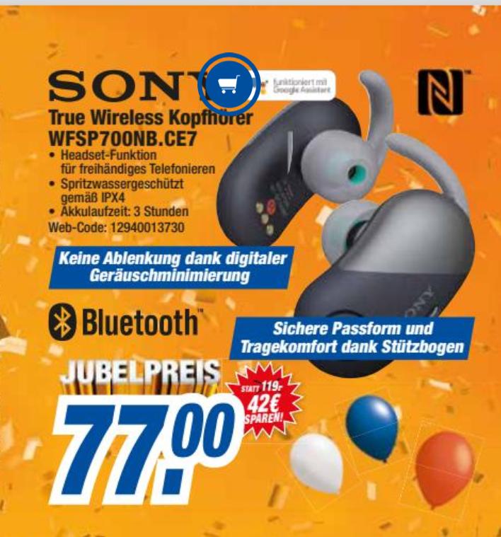 Sony WFSP700NB.CE7 schwarz Sport-Kopfhörer