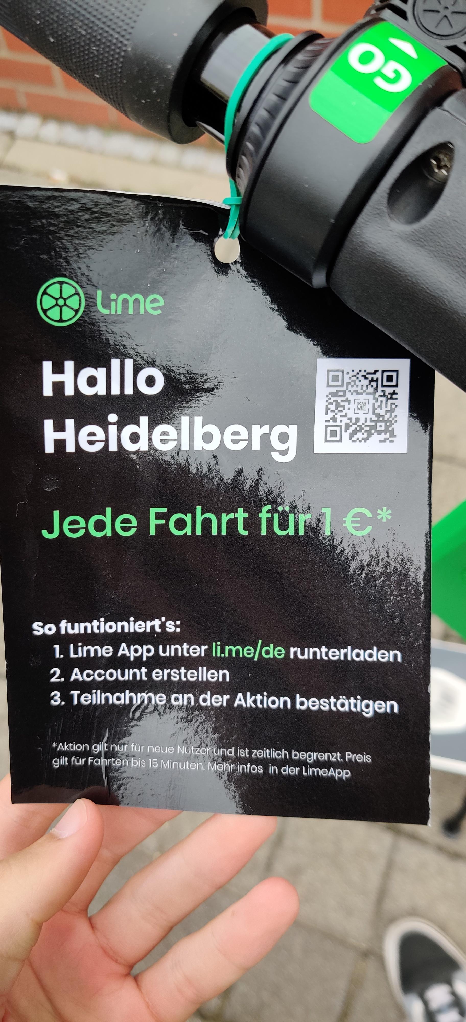 Heidelberg Lime E-Scooter 1€ pro Fahrt~15min (Neukunden)