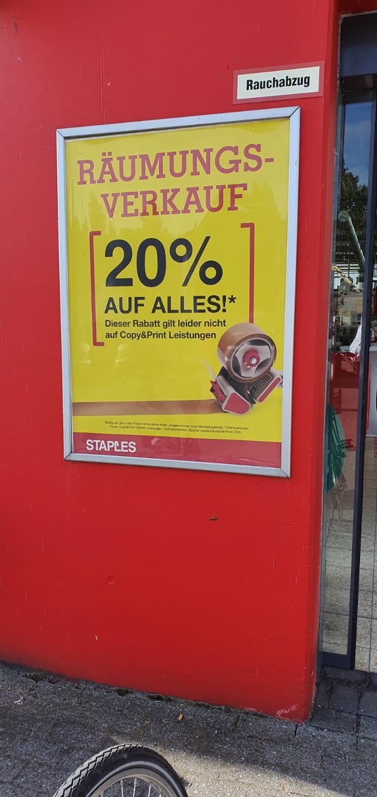 [lokal Bremen] STAPLES 20% auf Alles wegen Geschäftsaufgabe