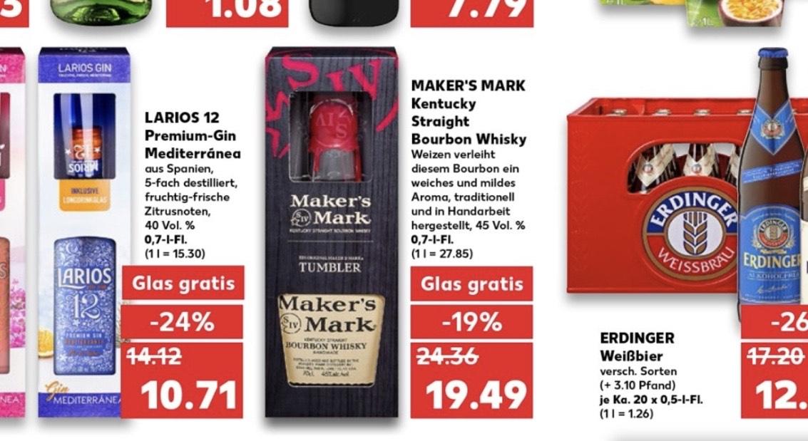 [KAUFLAND] Maker's Mark Kentucky Straight Bourbon Whisky 0,7l 45% mit Tumbler für 19.49 €