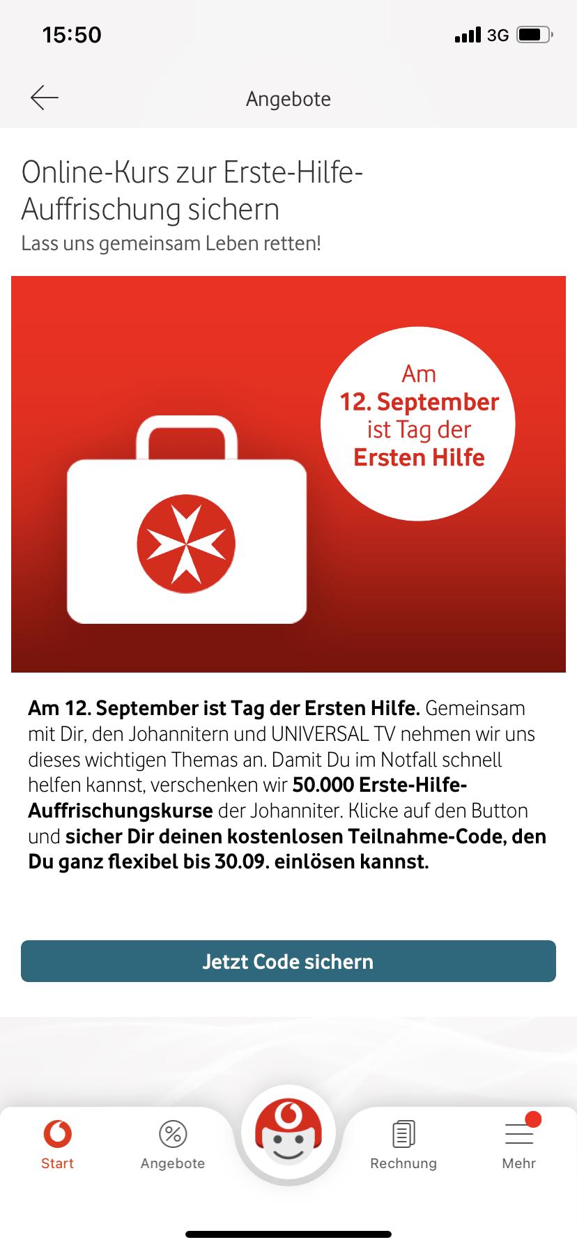 50.000 x Gratis Erste Hilfe Auffrischung in der Vodafone App