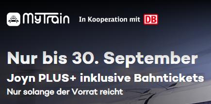 MyTrain noch günstiger: Reisepaket (2 x DB Tickets & 6 Monate Joyn+ 59,90€) oder Starter Paket (1 x DB Ticket & 3 Monate Joyn+ 34,90 €)