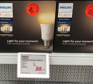 Lokal - [Media Markt Berlin] Philips Hue White Ambiance Starter-Kit E27 Bluetooth 3xE27 LED + Bridge + Dimmschalter