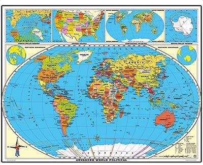 XXL / 1,80 Meter Weltkarte (politisch) laminiert für 7,92€ inkl. VSK