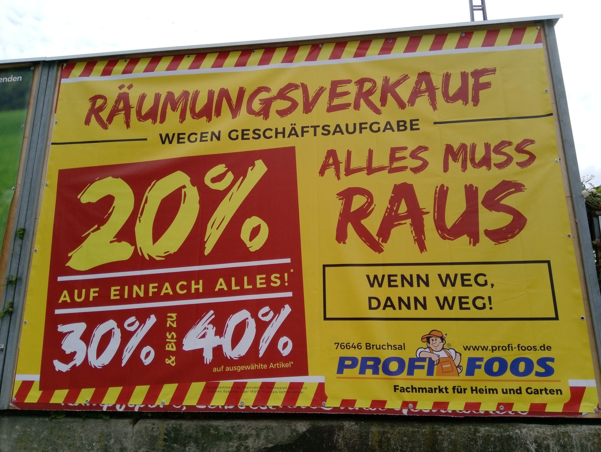 (lokal Bruchsal) Profi Foos Baumarkt 20%