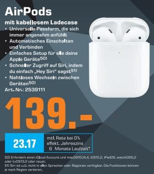 [Regional Saturn Köln-Hansaring ] Apple AirPods 2 (2019) mit kabellosem Ladecase für 139,-€