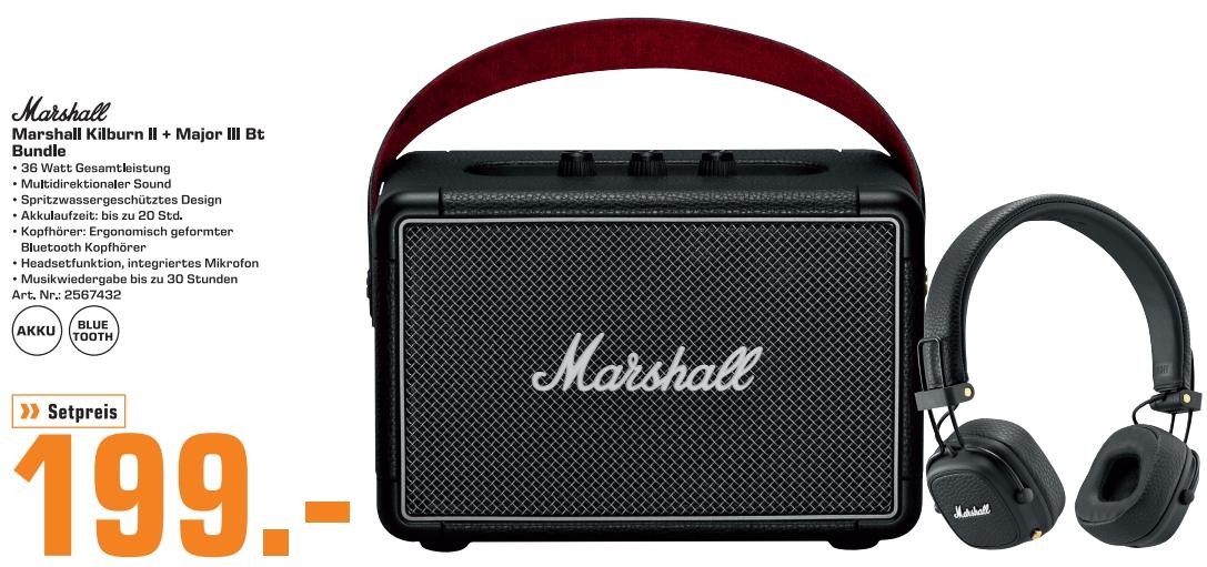 [Regional Saturn Landshut ab 03.09] Marshall Kilburn II Tragbarer Lautsprecher + Major III Bluetooth, On-Ear-Kopfhörer für 199,-€