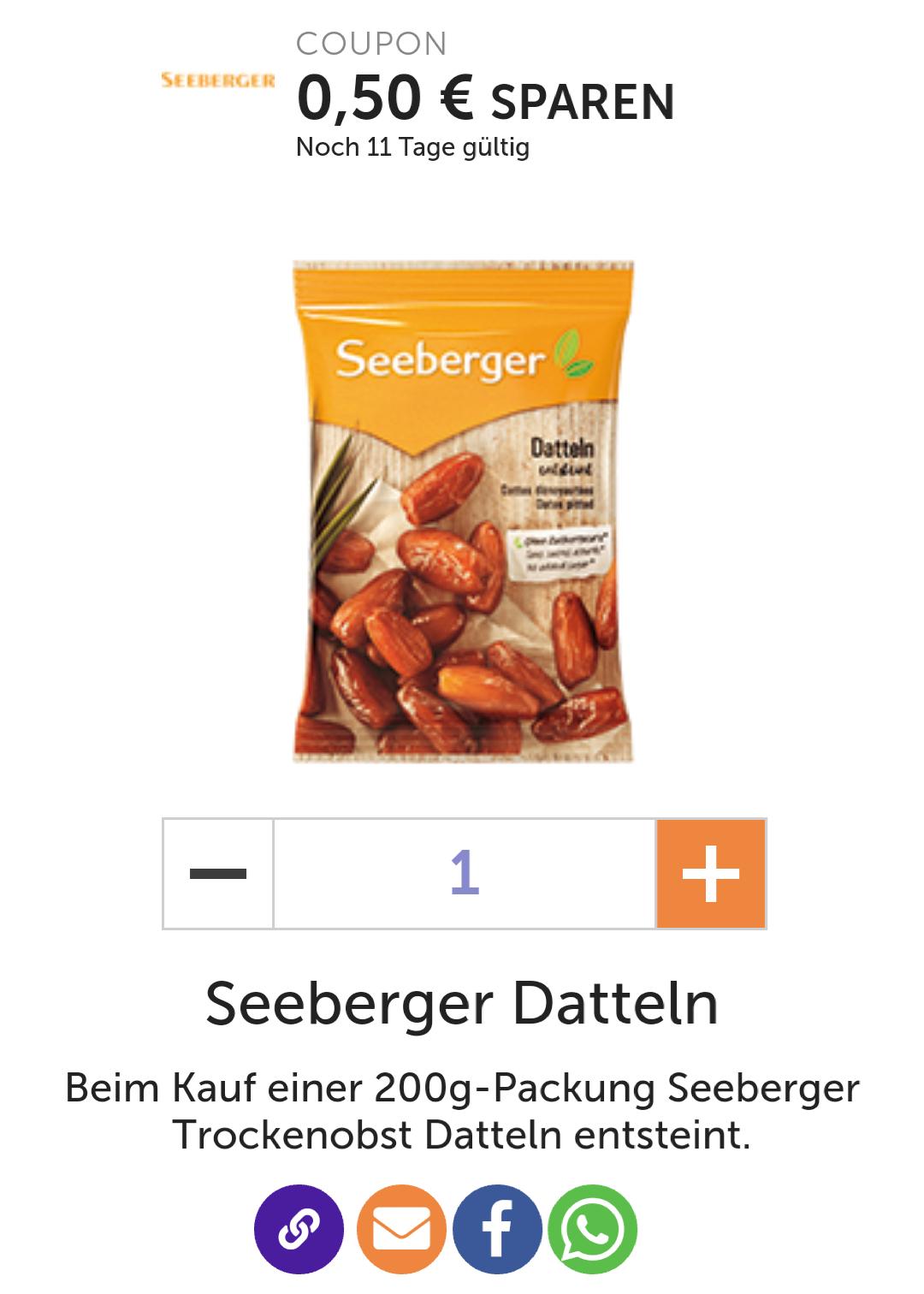 0,50€ auf Seeberger Trockenobst Datteln entsteint 200g