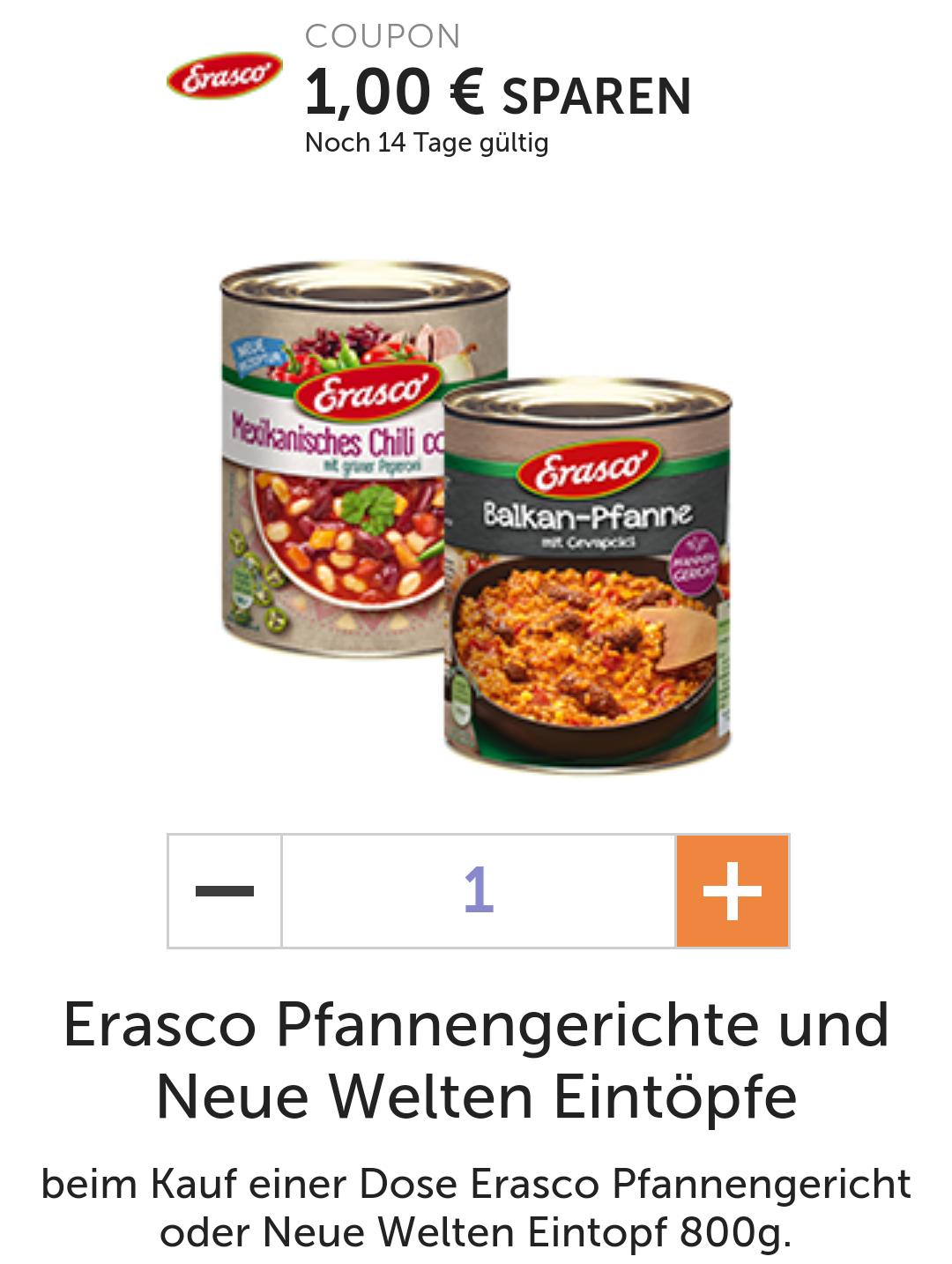 1€ auf eine Dose Erasco Pfannengericht oder Neue Welten Eintopf 800g