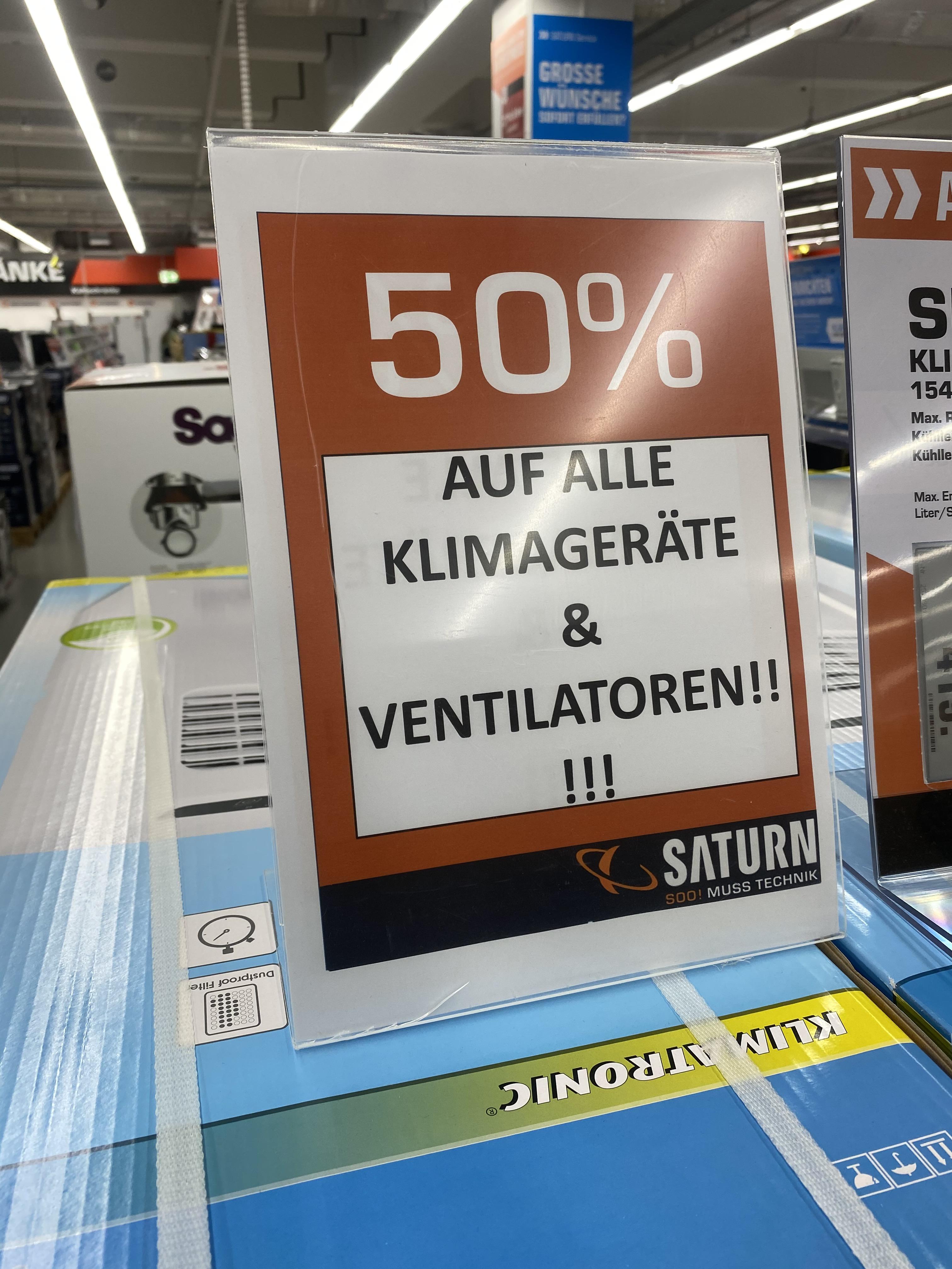 Saturn Hamm Klima Aktion 50% auf alle Klimageräte und Ventilatoren