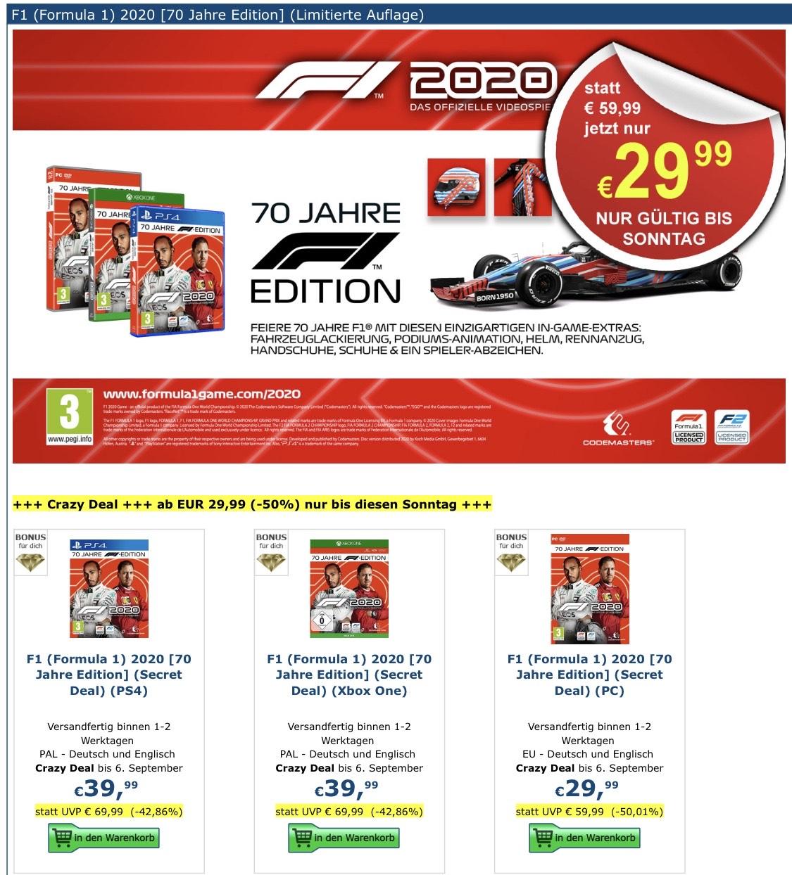 F1 2020 - 70 Jahre Edition (PlayStation 4 / Xbox One)