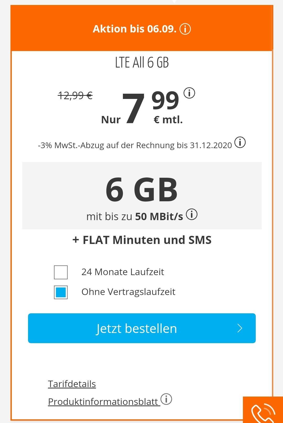 6GB Datenvolumen für nur 7,99€