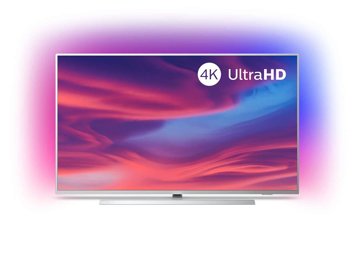 Philips Ambilight 58PUS7304/12 Fernseher 146 cm (58 Zoll) Smart TV (4K, LED TV, HDR 10+, Android TV, Hellsilber Modelljahr 2019