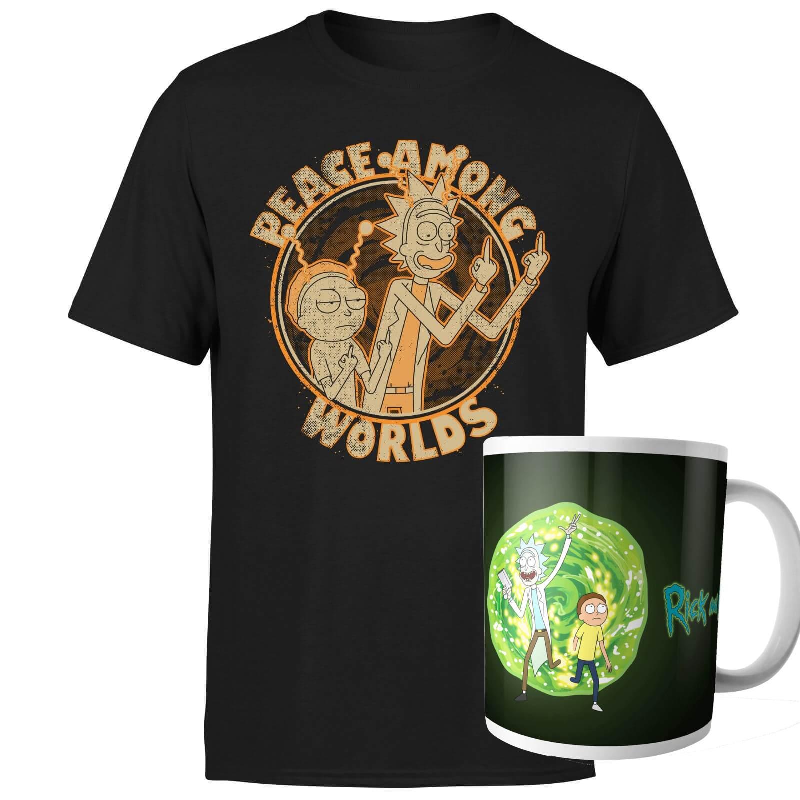 Rick & Morty Bundle aus Tasse + T-Shirt für Damen und Herren (Gr. Größen S - XXL, 100% Baumwolle)