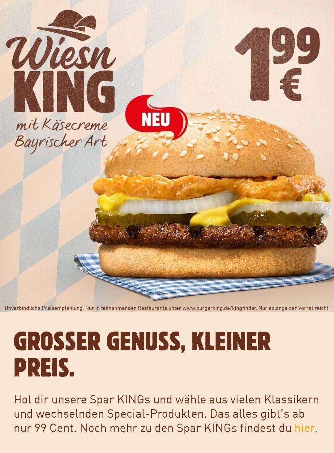 [Burger King statt Oktoberfest]: Wiesn King für 1.99€