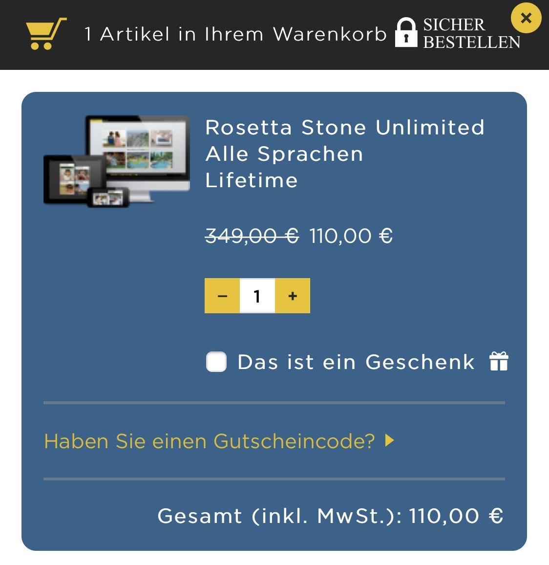 Rosetta Stone Unlimited 24 Sprachen lebenslang für 110€