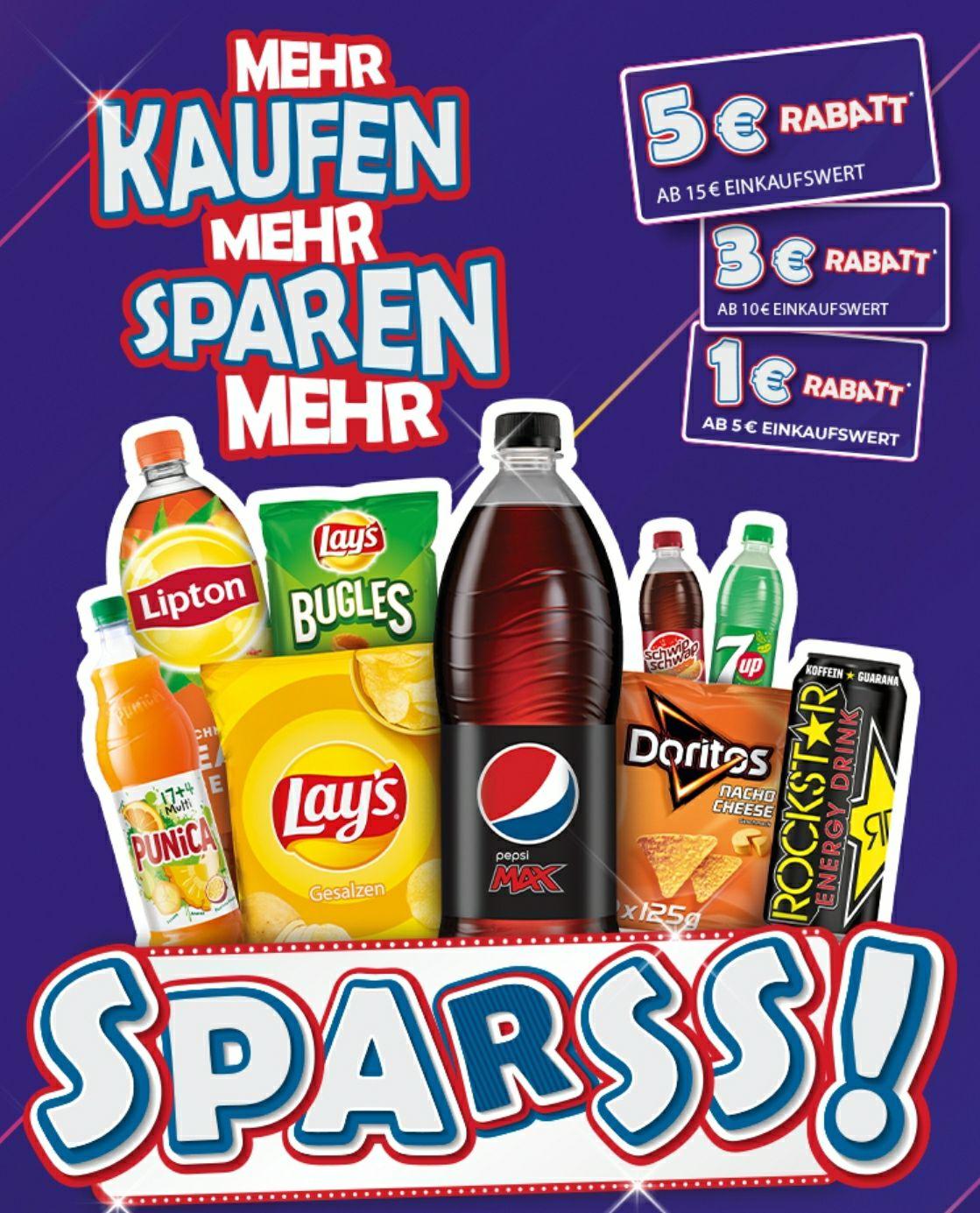 Pepsi (Rockstar, Doritos, Lays, Lipton, etc.) Aktion bis zu 5€ Sofort-Rabatt (1€/5€   3€/10€   5€/15€)