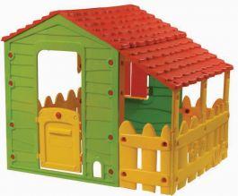 [Spielemax] Farmhaus mit Gartenzaun Kinderspielhaus mit überdachter Veranda