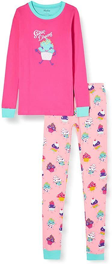 [prime] Hatley Mädchen bio Baumwolle, Long Sleeve Appliqué, Pyjama Set, Zweiteiliger Schlafanzug