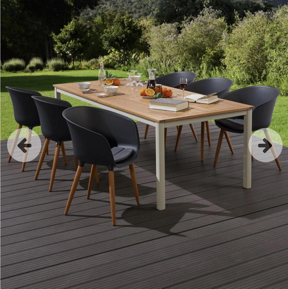Gartentisch Sacramento aus Aluminium und Holz, Farbe offwhite/Holz, Fusshöhe einstellbar, ausziehbar, 6-10 Personen