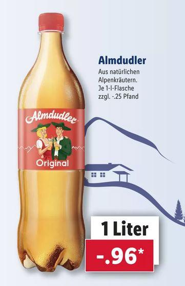 Almdudler Original Kräuterlimonade 1L für nur 0,96€ zzgl. Pfand [LIDL/REWE]