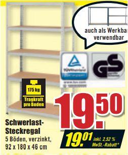 Schwerlastregal. 5 Böden, 175 kg pro Boden, verzinkt, 92 x 180 x 46 cm für 19,01 Euro [B1-Discount]