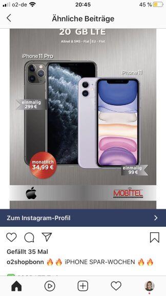 o2 Neukunden - iPhone 11 Pro 64 GB, o2-Vertrag 20 GB LTE, 34,99€/monatl., 299€ einmalig