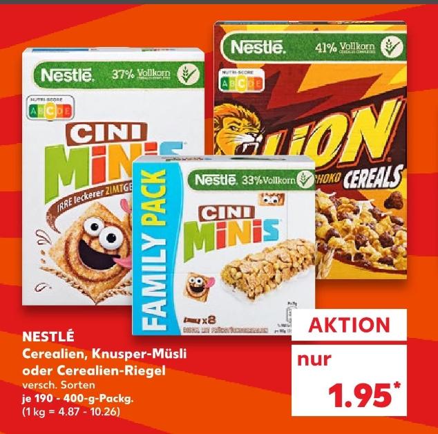 [Kaufland ab 10.09] Nestle Cerealien in verschiednen Sorten und Größen für 0,95€ durch Coupon