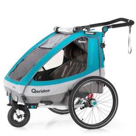 Qeridoo Kinderfahrradanhänger Sportrex2 Petrol, 2020er Modell, für 1 - 2 Kinder