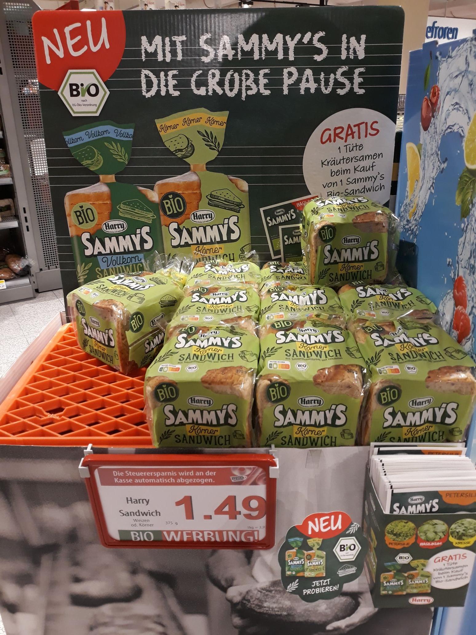 Harry Sammys Körner- oder Vollkornsandwich kaufen und eine Tüte Kräutersamen gratis dazu