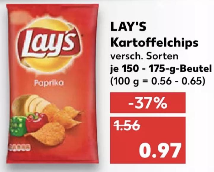 16x Lays Chips versch. Sorten für mit Coupon für 10,52€ (entspricht 0,66€ je Tüte) [Kaufland]