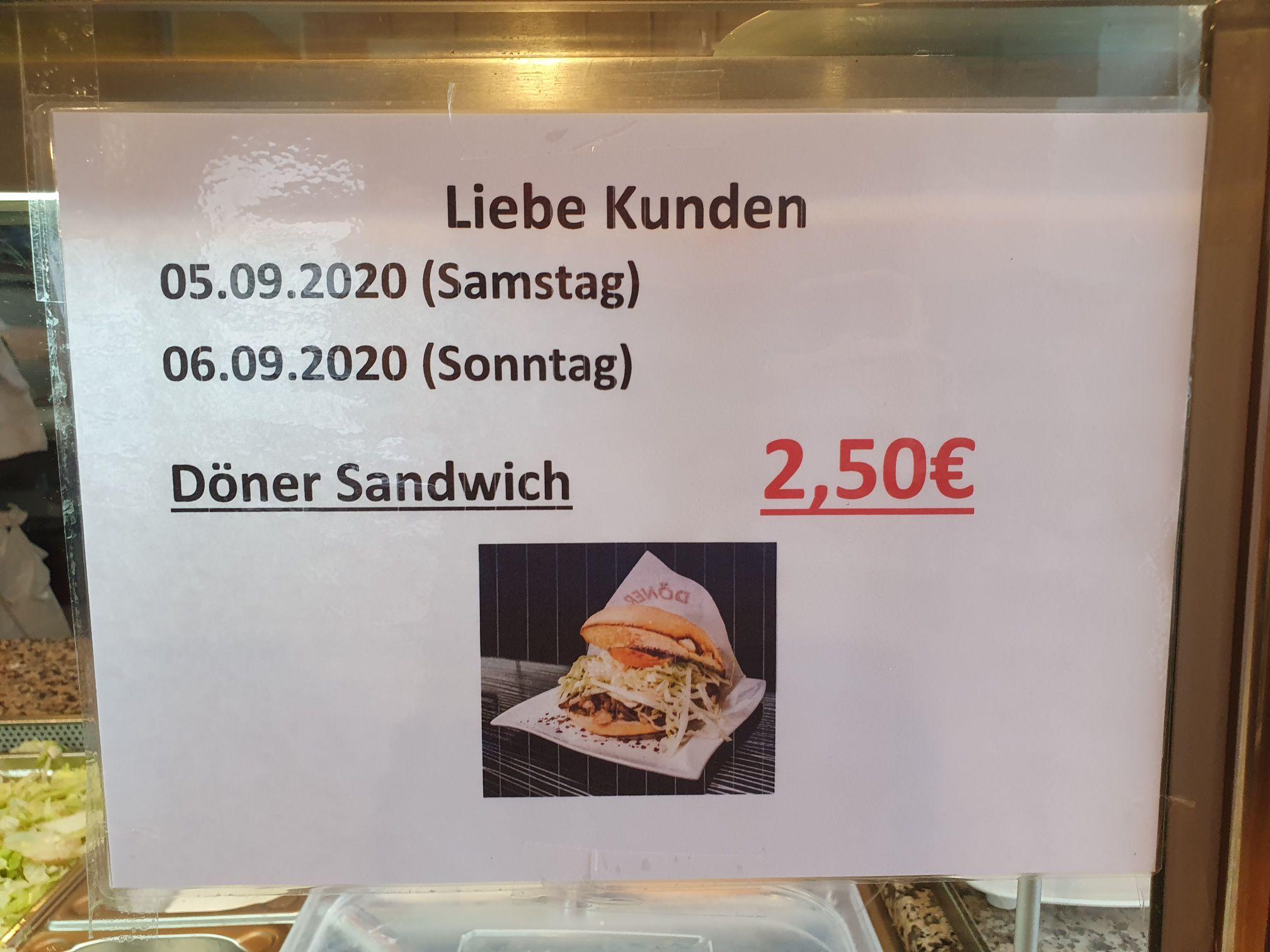 Lokal - Döner für 2,50 im Tekbir Kebap Haus (Frankfurt Niederursel) 05.-06.09