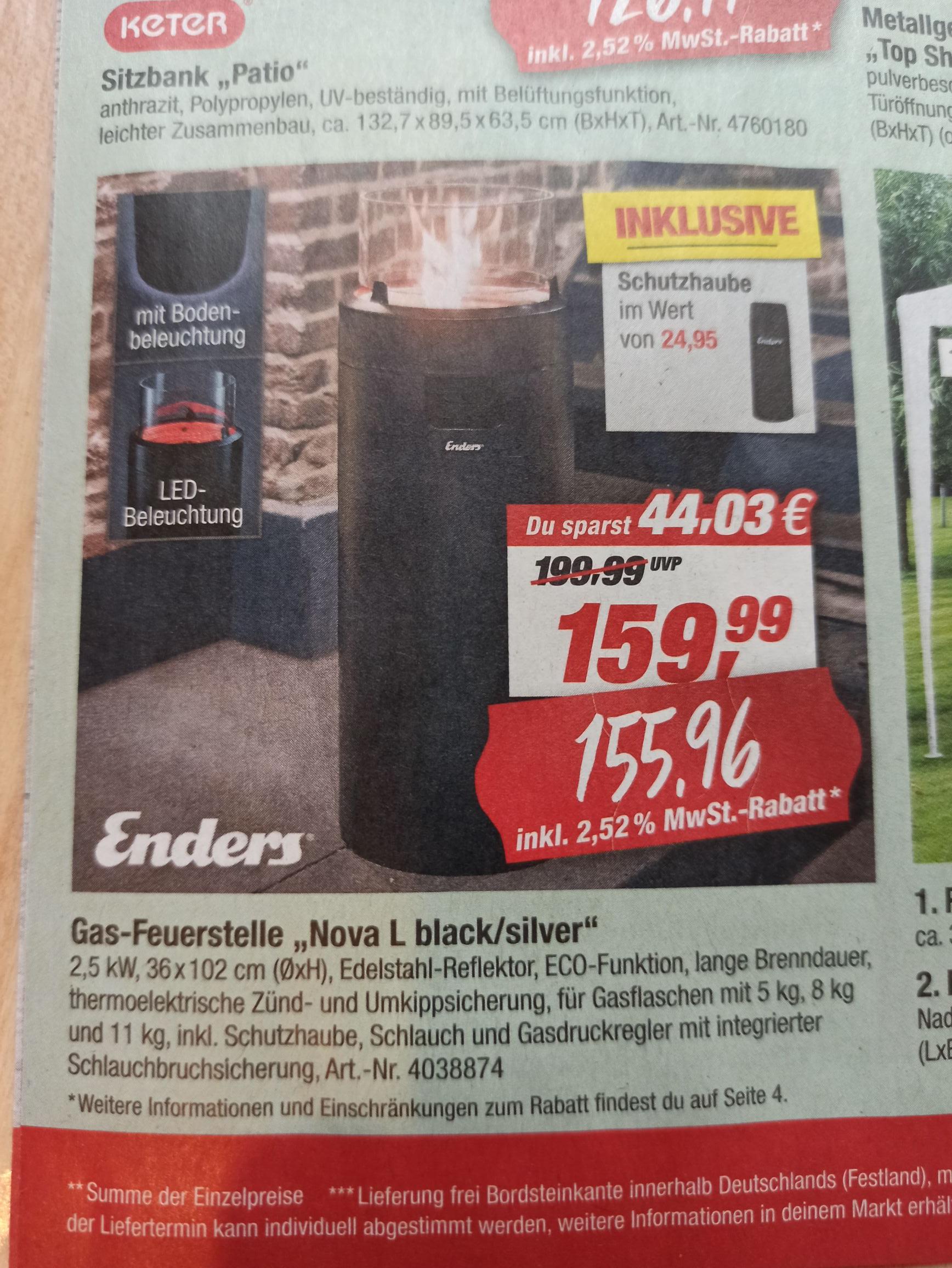 [Lokal] TOOM Enders Nova L black/silber Gas-Feuerstelle (incl. Schutzhaube)