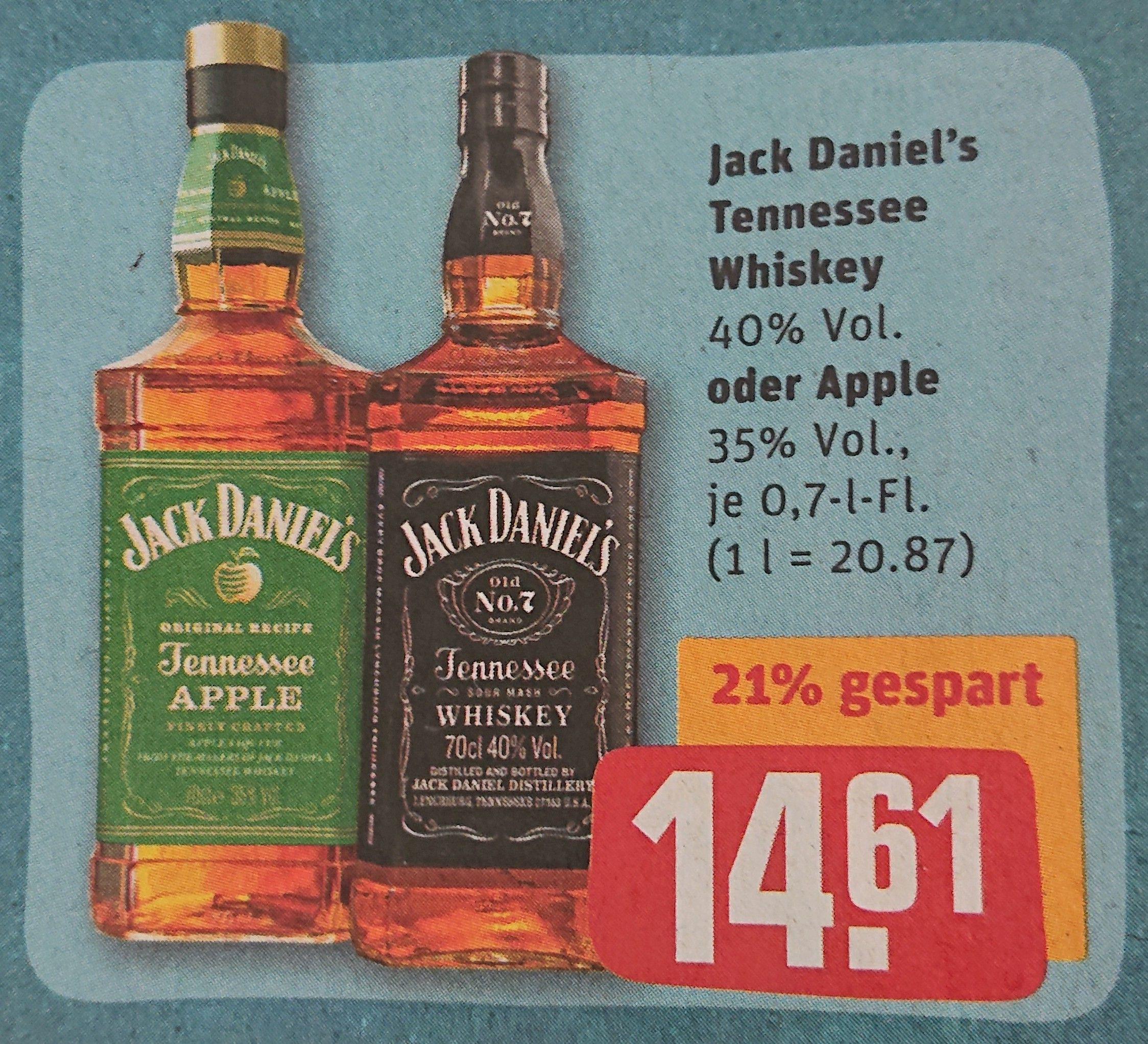 Jack Daniel's (Daniels) Tennessee Whiskey 0,7 l [REWE] [KW37 07. - 12.09. /online ab 06.09.] (mit 15x Payback 13,56 € möglich)