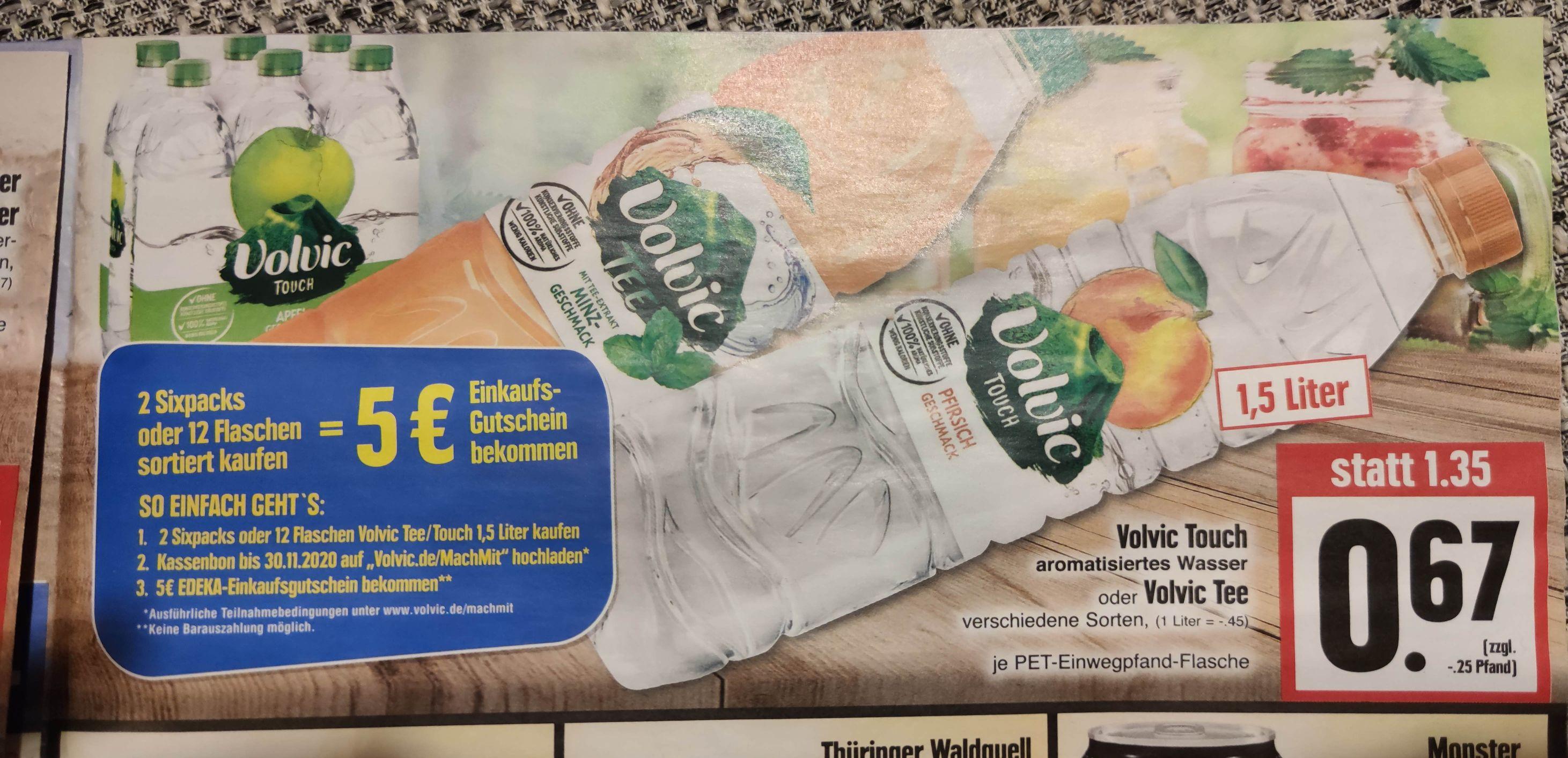 12 Flaschen Volvic Tee oder Touch für 8,04€ (zzgl Pfand) inkl 5€ Cashback Gutschein Edeka regional