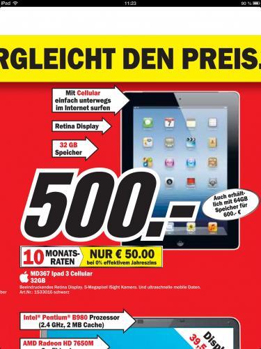 [Lokal] iPad 3 WiFi und Cellular 32GB bei MediaMarkt offline - Heidelberg