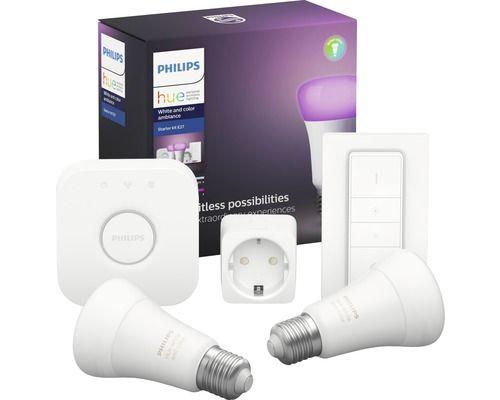 Philips Hue Color E27 Starter Kit Bluetooth | 2 x E27 Color | Bridge | Dimmschalter | Smart Plug | 5% Shoop möglich