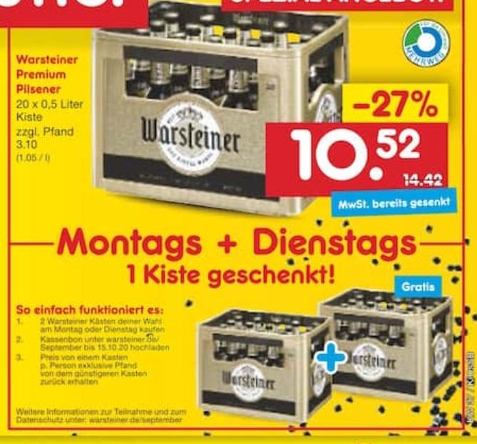 [Netto MD / Mo, 07.09. + Di, 08.09.] 2 Kästen Warsteiner Premium Pilsener zum Preis von 10,52 € zzgl. 6,20 € Pfand