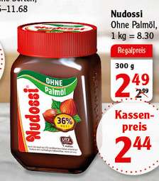 Globus - Nudossi der Nuss-Nougat Brotaufstrich ohne Palmöl (300g Glas) für 2,44€
