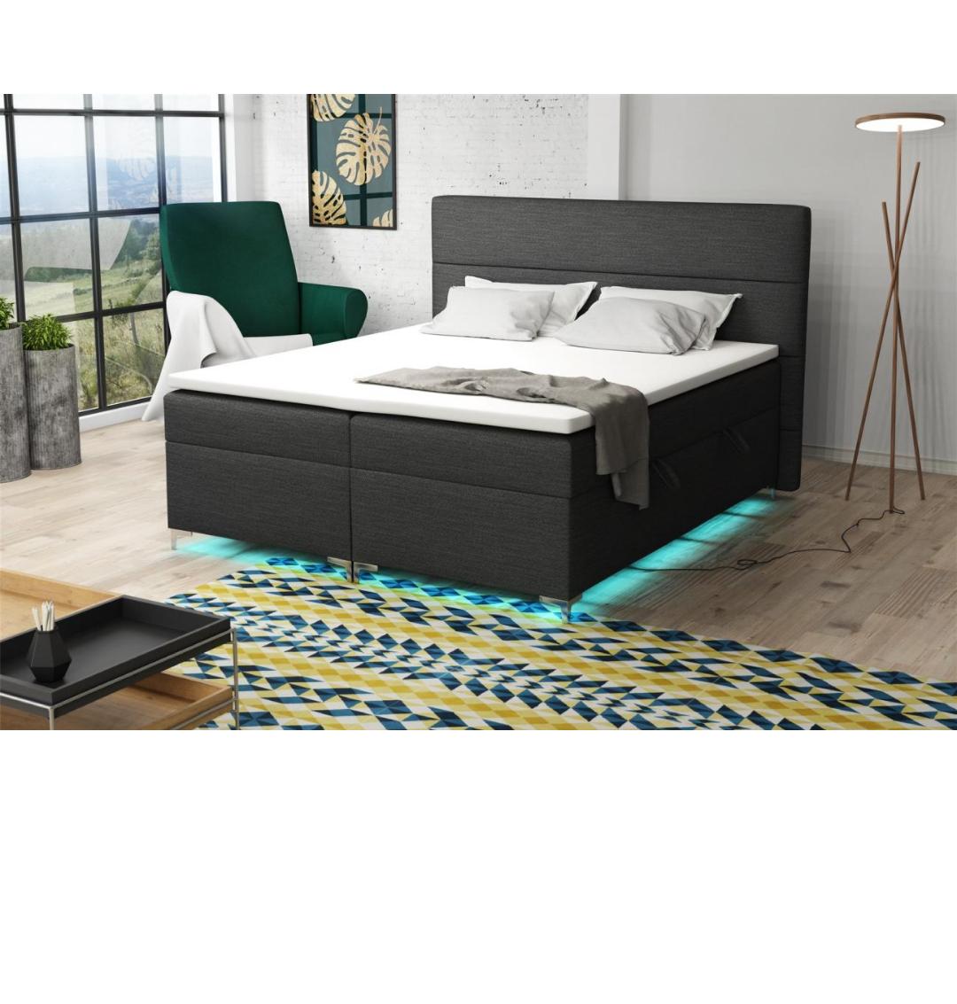 Boxspringbett Schlafzimmerbett CANELA 200x200cm inkl.Bettkasten/ LED