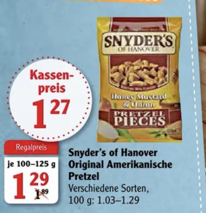 [Globus] Snyder's of Hanover Pretzels versch. Sorten für 1.27€ ( mit Cashback eff. 0.77€ möglich )