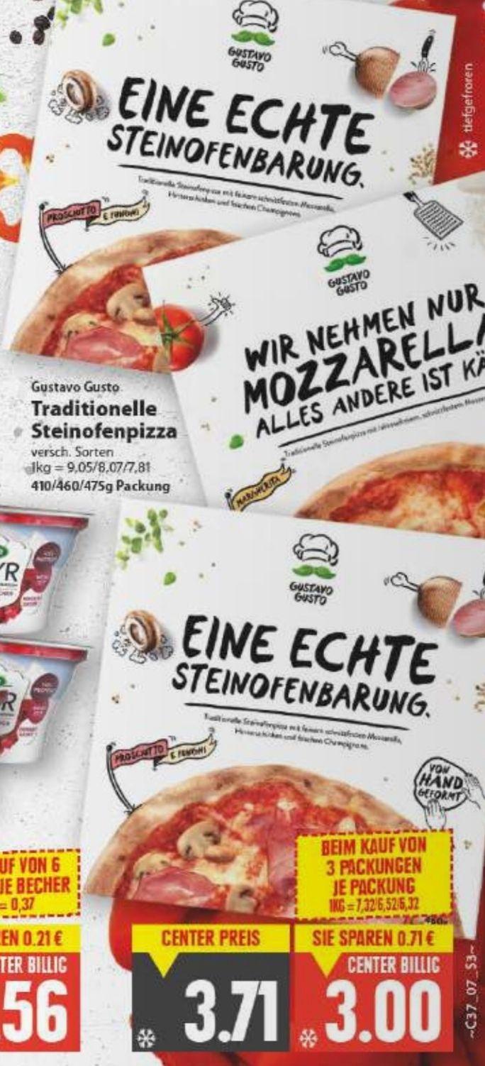 [Edeka Center Minden-Hannover] 3x Gustavo Gusto Pizza versch. Sorten im Angebot für 9€